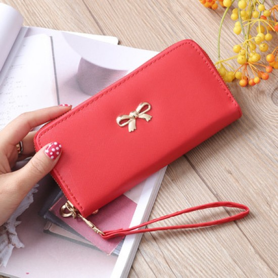 Fine Stitched Knot Red Long Wallet Clutch WB-108RD |image