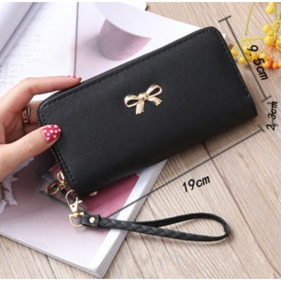 Fine Stitched Knot Black Long Wallet Clutch WB-108BK |image