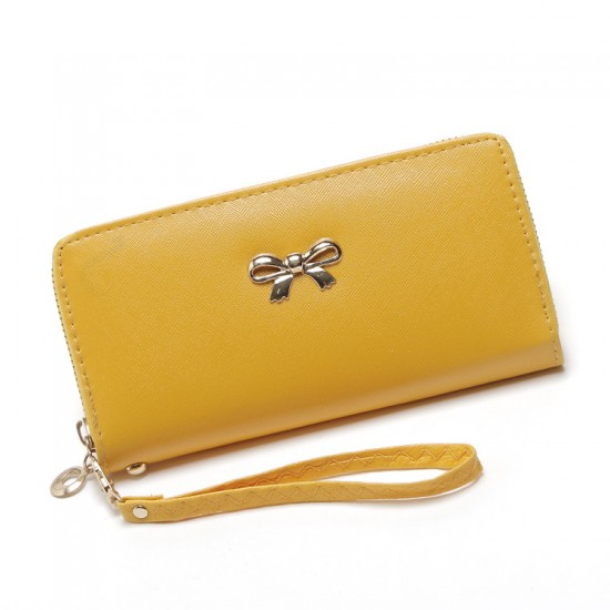 Fine Stitched Knot Yellow Long Wallet Clutch WB-108Y |image