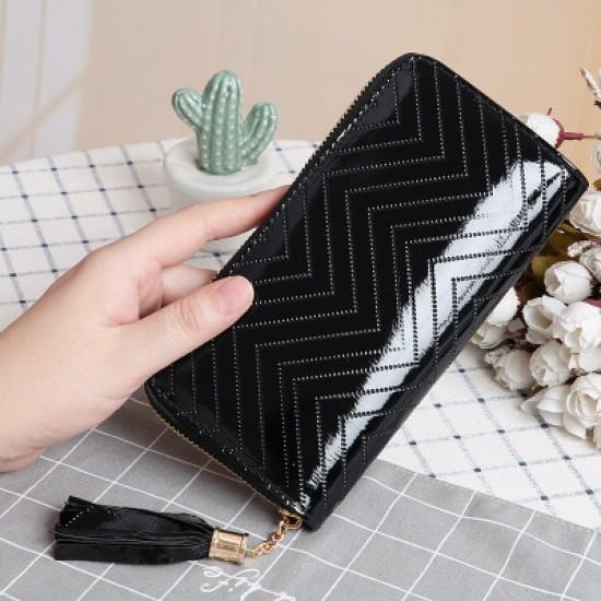 Zigzag Pattern Black Shining Leather Clutch Wallet WB-109BK |image