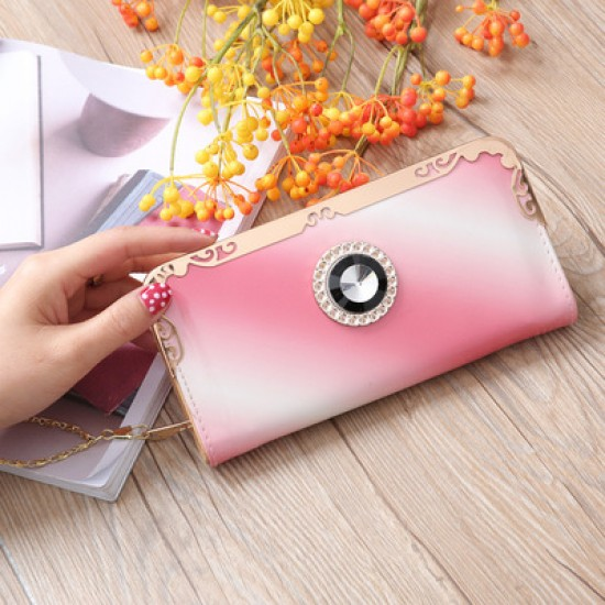 Pink Bright Leather With Diamond Long Wallet WB-110PK |image