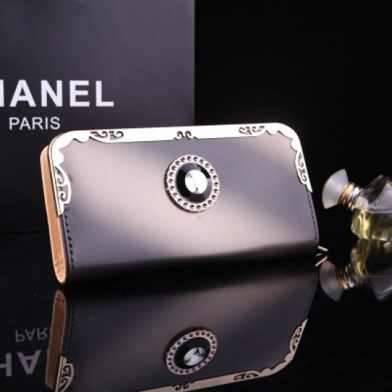 Black Bright Leather With Diamond Long Wallet WB-110BK |image