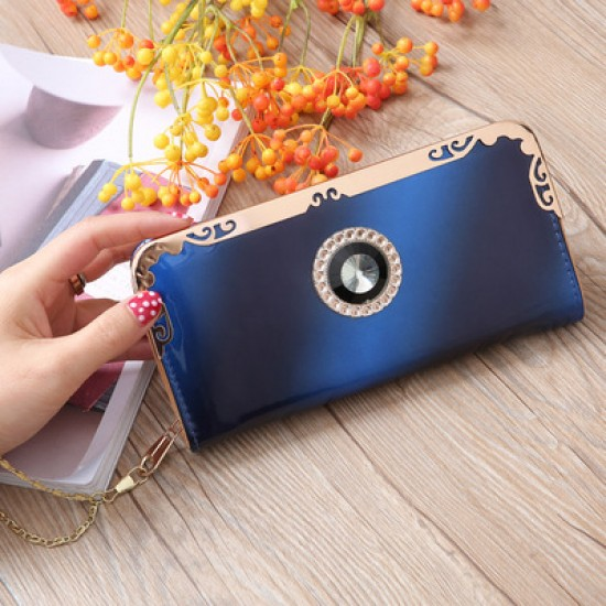 Blue Bright Leather With Diamond Long Wallet WB-110BL |image