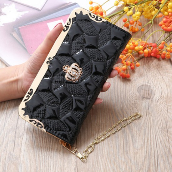 Embossed Black Bright Leather Long Clutch Wallet WB-112BK |image