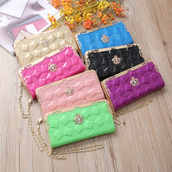 Embossed Pink Bright Leather Long Clutch Wallet WB-112PK |image