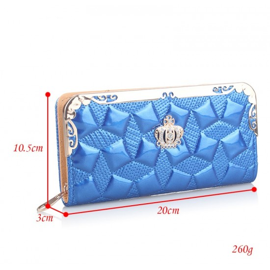 Embossed Blue Bright Leather Long Clutch Wallet WB-112BL |image