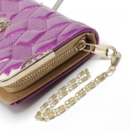 Embossed Purple Bright Leather Long Clutch Wallet WB-112PR |image