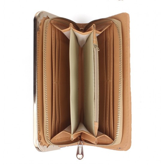 Embossed Gold Bright Leather Long Clutch Wallet WB-112G |image