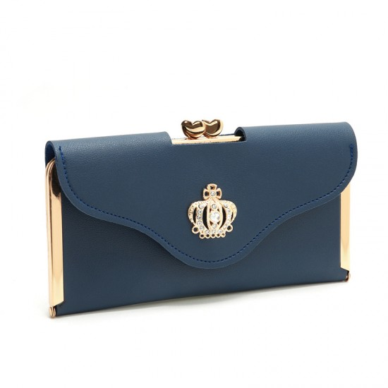 Crown Patched Blue Envelope Handy Wallet Clutch WB-113BL |image