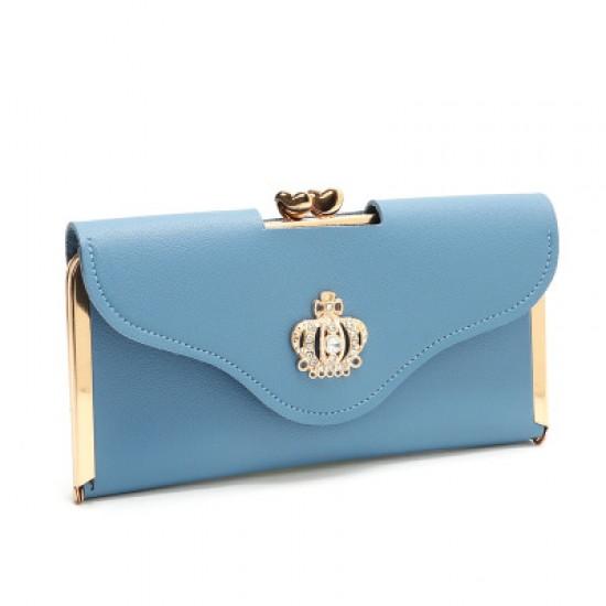 Crown Patched Light Blue Envelope Handy Wallet Clutch WB-113LB |image