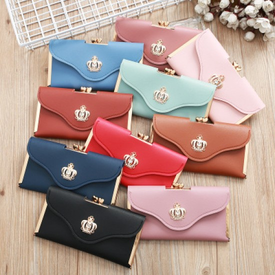 Crown Patched Pink Envelope Handy Wallet Clutch WB-113PK |image