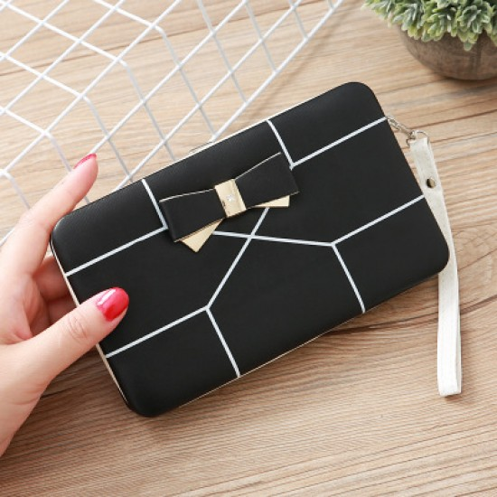 Black with White Lines Bow Knot Long Box Wallet WB-115BK |image