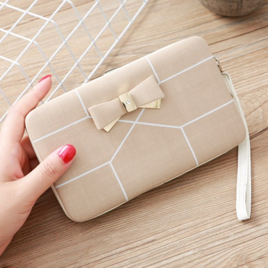 Cream with White Lines Bow Knot Long Box Wallet WB-115CR |image