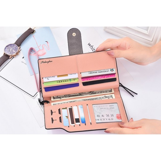 Designer Style Multi Pockets Zipper Closure Grey Wallet WB-117GR |image
