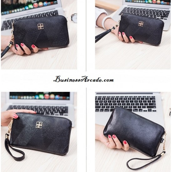 Black Pu Leather Shell Bag Wallet Clutch WB-120BK |image