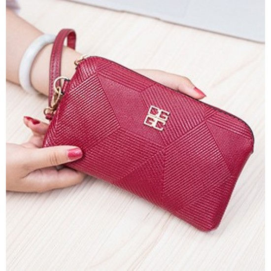Red Pu Leather Shell Bag Wallet Clutch WB-120RD |image