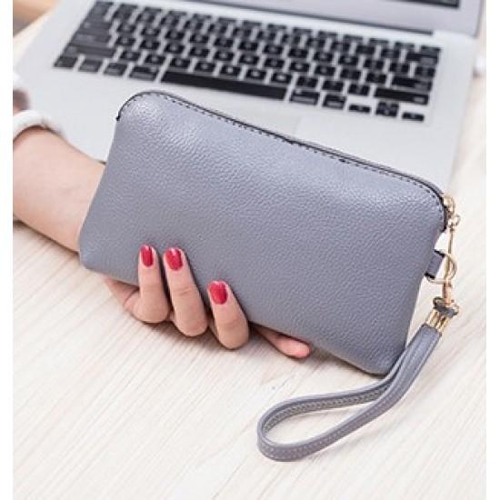 Grey Pu Leather Shell Bag Wallet Clutch WB-120GR |image