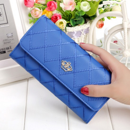 Crown Patched Stitched Blue Women Wallets WB-121BL |image
