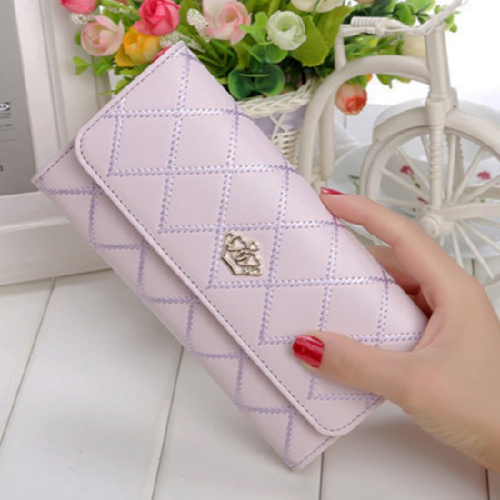 Crown Patched Stitched Purple Women Wallets WB-121PR |image