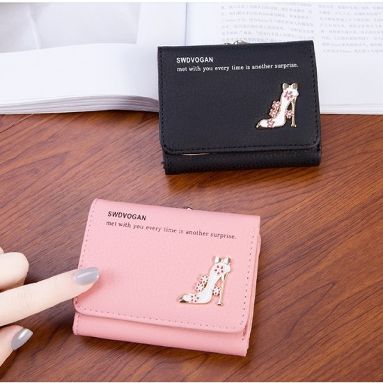 Designer Style Heel Patched Handy Black Wallet WB-123BK |image