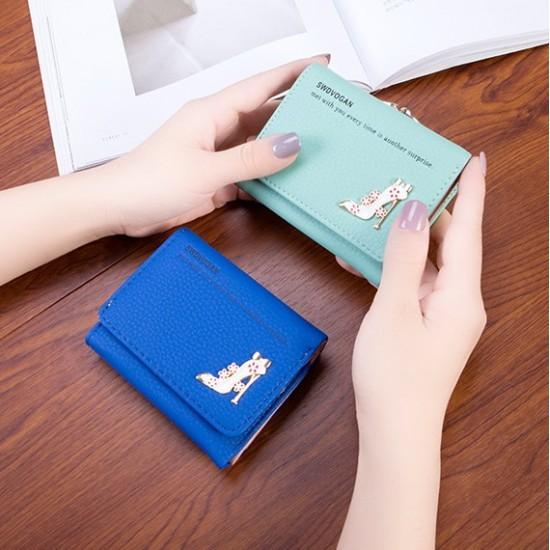 Designer Style Heel Patched Handy Blue Wallet WB-123BL  image