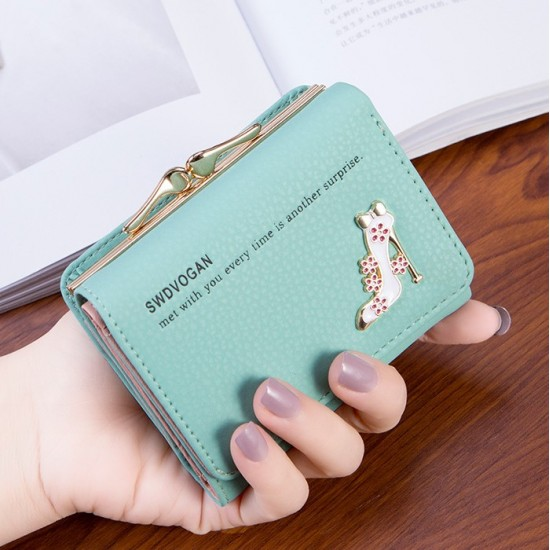 Designer Style Heel Patched Handy Green Wallet WB-123GN |image