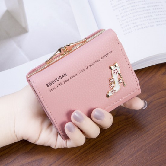 Designer Style Heel Patched Handy Pink Wallet WB-123PK |image