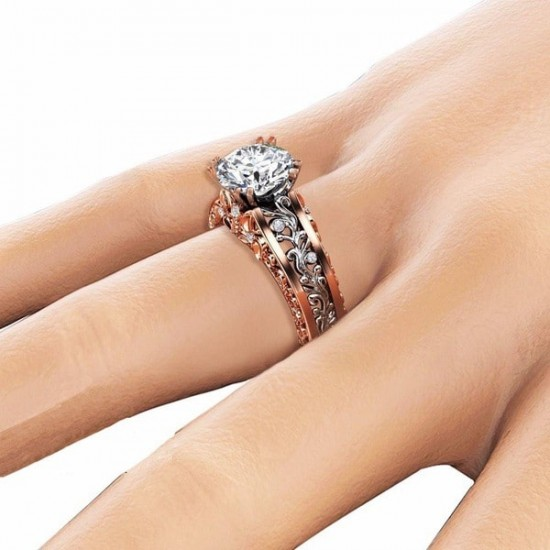 Elegant Rose Gold Plated White Diamond Floral Rings R-16W |image