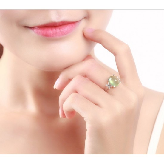 Shiny Light Green Rhinestone Crystal Butterfly Rings R-14 |image