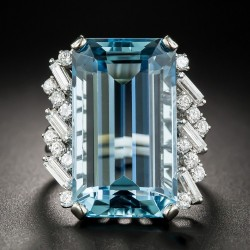 Aquamarine Cocktail Ring With Baguette and Round Diamonds R-12