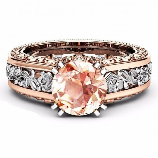 Elegant Rose Gold Plated Champagne Diamond Floral Rings R-16OR |image