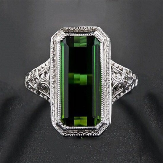 Green Tourmaline Sterling Silver Ring R-28 |image