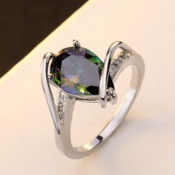 Rainbow Topaz Pear Shaped Sterling Silver Rings R-27