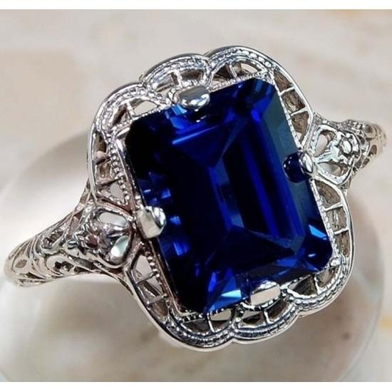Blue Zircon Rhinestone Butterfly Silver Ring R-19 |image