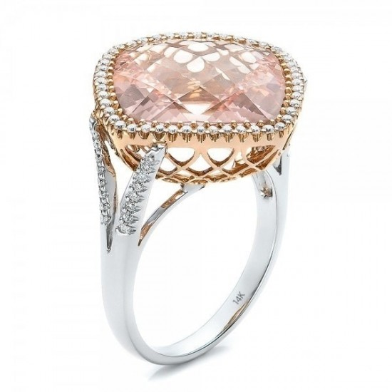 Rose Gold Cubic Zircon Inlaid Sterling Silver Ring R-26 |image