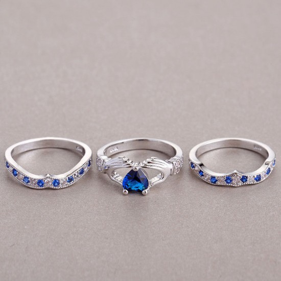 New 3 in 1 Silver Blue Women's Claddagh Rings R-20 |image