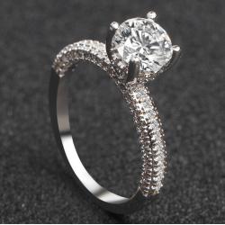 New Round Micro Diamonds Women Silver Rings R-17S