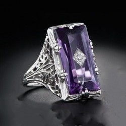 Vintage and Chamfered Rectangular Amethyst Silver Ring R-24