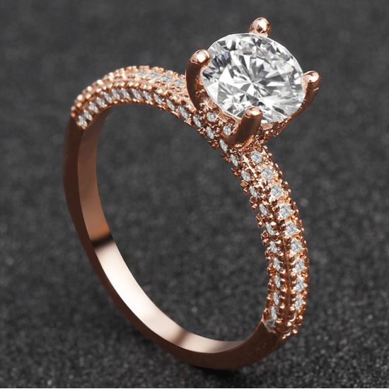 New Round Micro Diamonds Women Rose Gold Rings R-17RG |image
