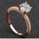 New Round Micro Diamonds Women Rose Gold Rings R-17RG