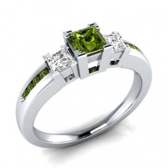 Green Square Topaz Silver Plated Vintage Rings R-29GN |image