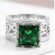 Emerald Square Diamond Zircon Silver Rings R-39 |image