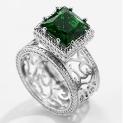 Emerald Square Diamond Zircon Silver Rings R-39