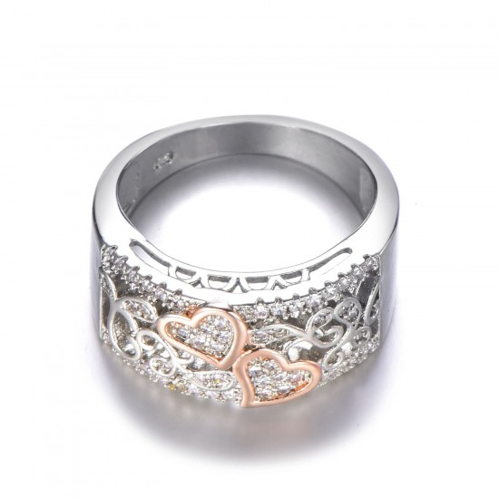 Romantic Rose Gold Color Double Heart Charming Rings R-37 |image
