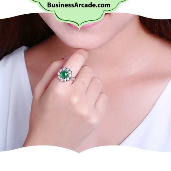 Green Floral Rhinestone Chalcedony Silver Rings R-42 |image