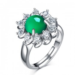 Green Floral Rhinestone Chalcedony Silver Rings R-42