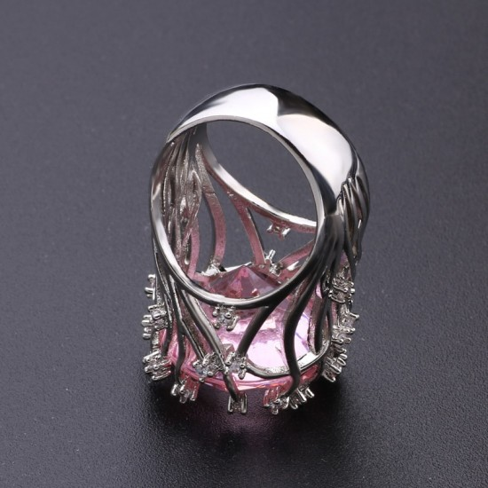 Pink Zircon Silver Plated branch shaped Rings R-34 |image