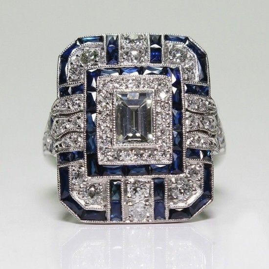 Antique Art Deco Silver Plated Blue Sapphire Rings R-60BL |image