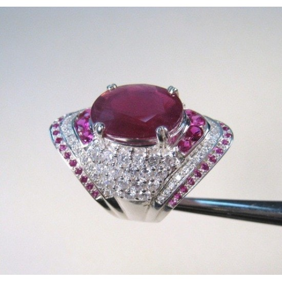 Natural Ruby Gemstone Filled CZ Stone Silver Plated Rings R-32 |image