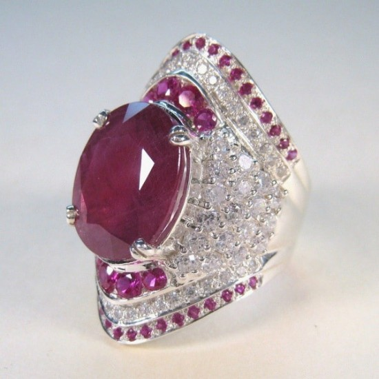 Natural Ruby Gemstone Filled CZ Stone Silver Plated Rings R-32  image